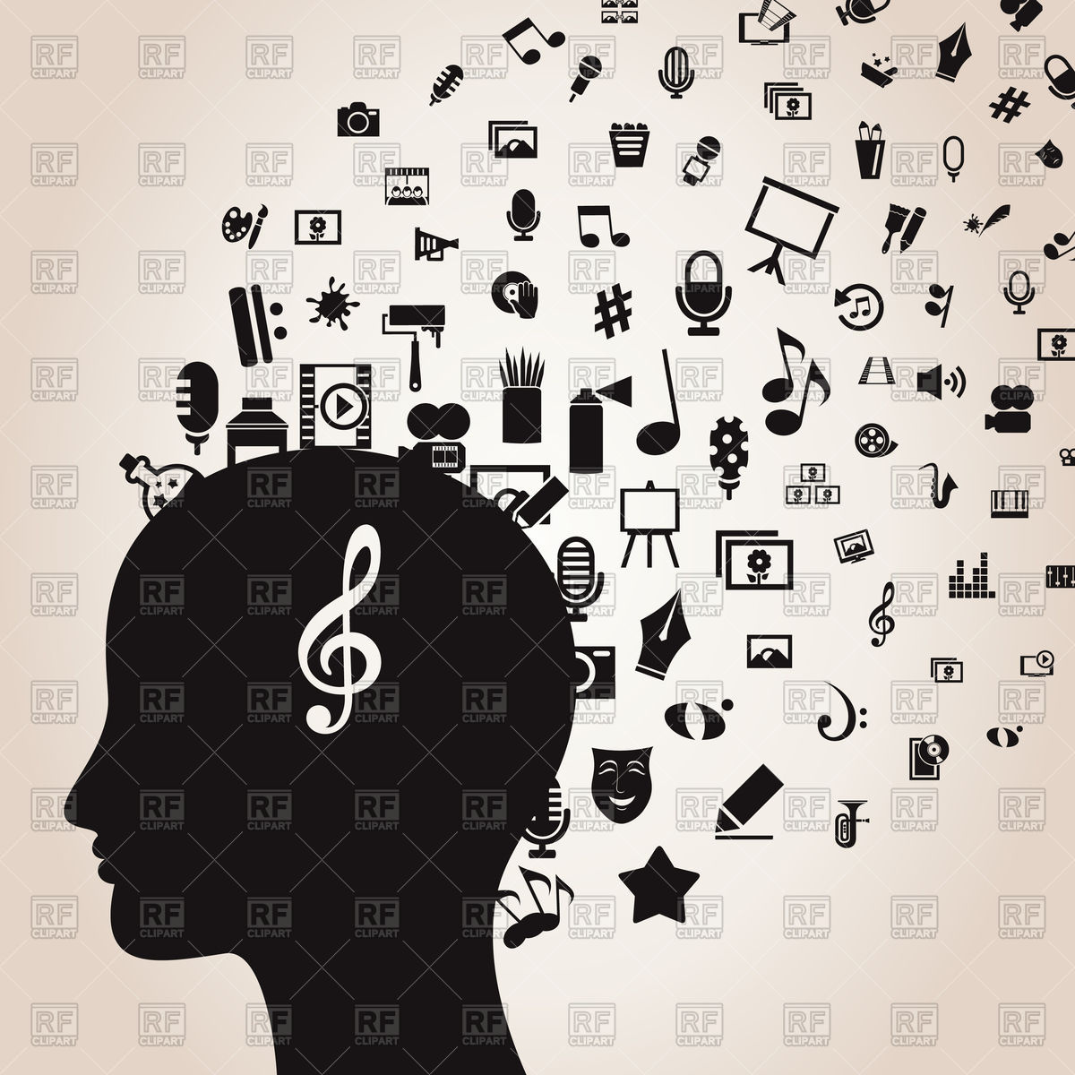 1200x1200 Silhouette Of Head With Music And Arts In Mind Vector Image