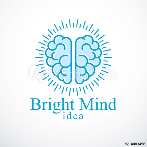 500x500 Bright Mind Vector Logo Or Icon With Human Anatomical Brain