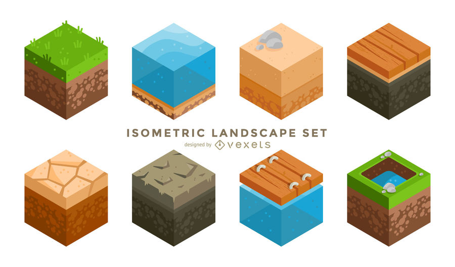 900x529 Isometric Landscape Cube Minecraft Style
