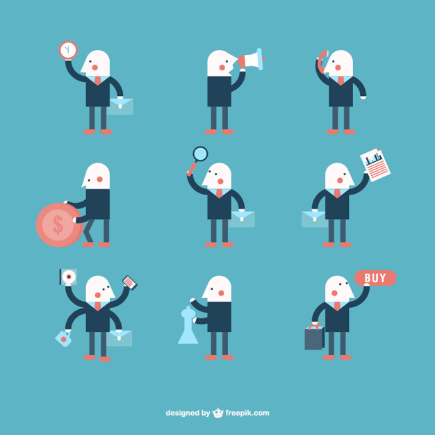 626x626 Minimalist Businessman Character Collection Vector Free Download