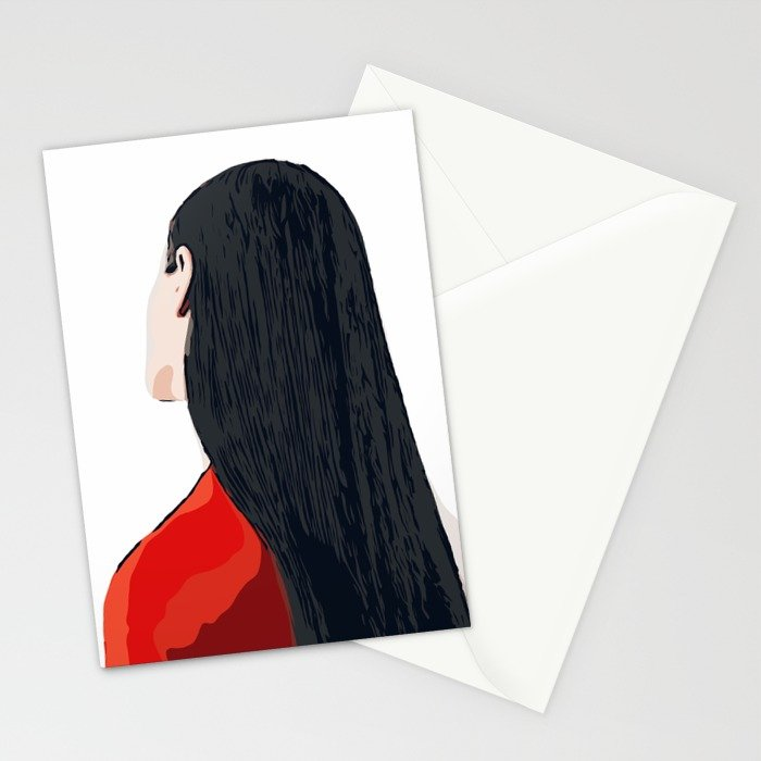 700x700 White And Red Girl With Long Hair Minimalist Vector Illustration