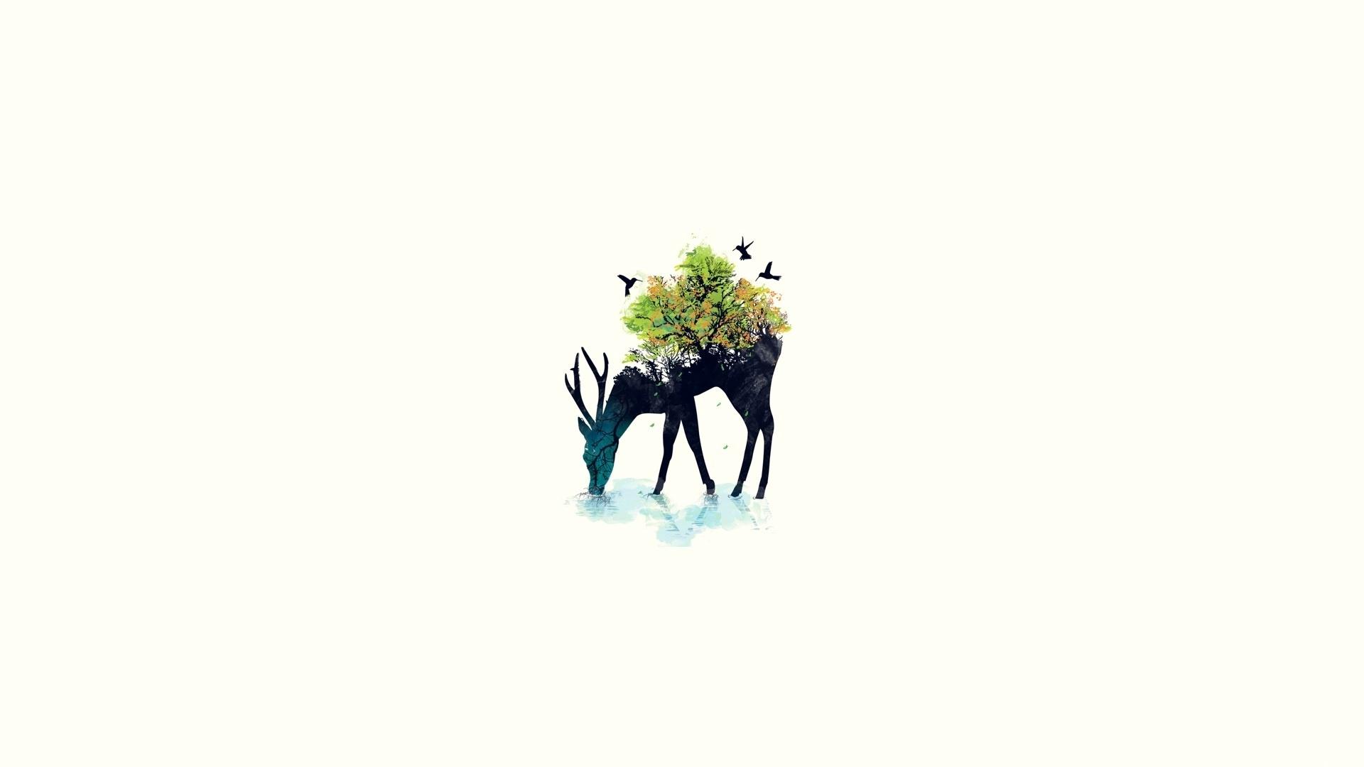 1920x1080 Download Wallpaper 1920x1080 Deer, Minimalism, Vector, Background