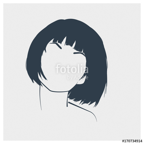 500x500 Hand Drawn Concept Portrait Of A Beautiful Young Woman. Minimalist