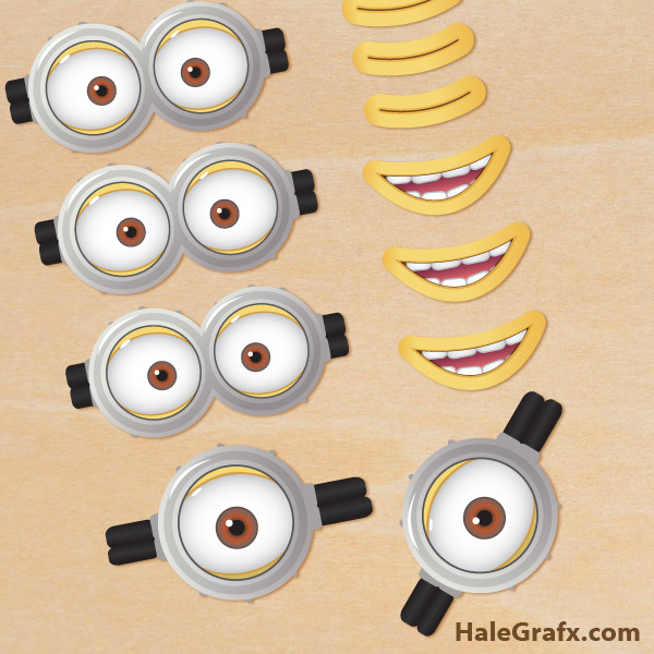 600x600 Free Printable Despicable Me 2 Minion Goggles And Mouths