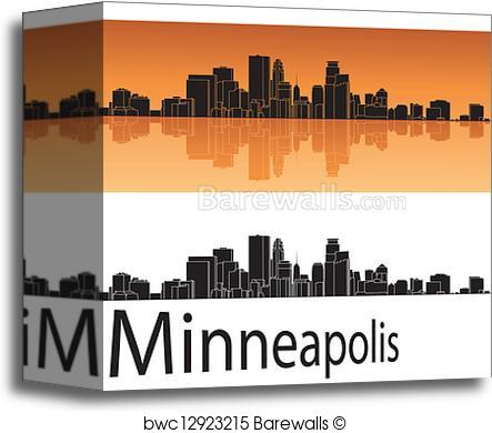 443x390 Canvas Print Of Minneapolis Skyline Barewalls Posters Amp Prints