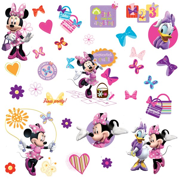 600x600 Disney Minnie Mouse Bow Tique Wall Stickers, Disney Wall Decals