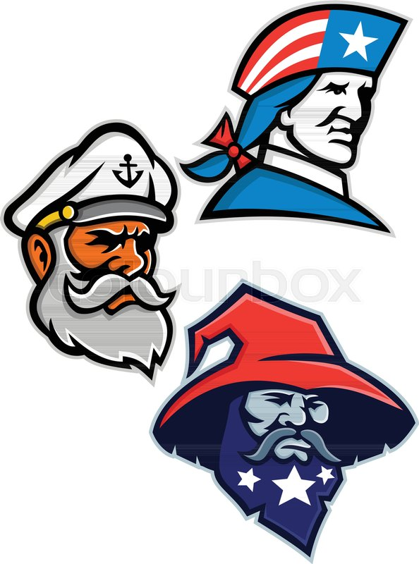 594x800 Mascot Icon Illustration Set Of Heads Of An American Patriot