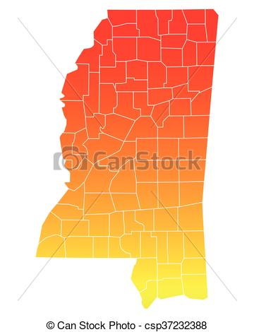 360x470 Map Of Mississippi Vector