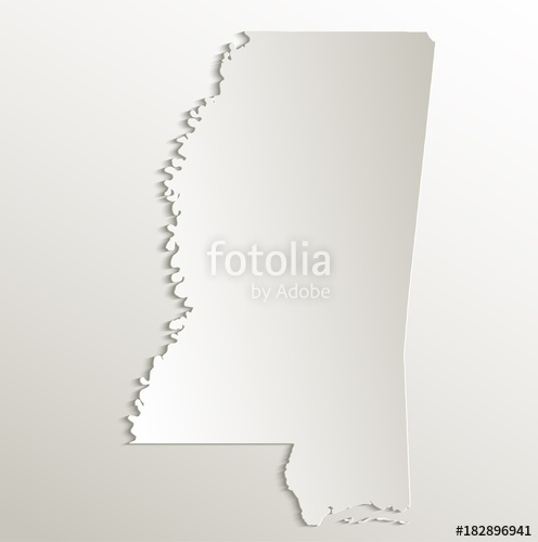 496x500 Mississippi Map Card Paper 3d Natural Vector Stock Image And