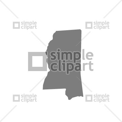 400x400 Mississippi State Map Silhouette Vector Image