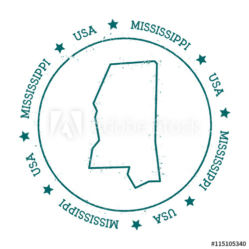 500x500 Mississippi Vector Map. Retro Vintage Insignia With Us State Map