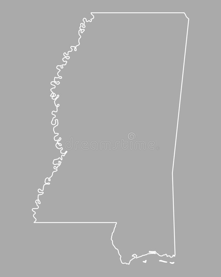 720x900 Detailed Map Of Mississippi Map Of Mississippi Stock Vector