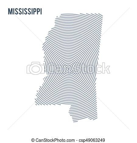 450x470 Vector Abstract Hatched Map Of State Of Mississippi With Spiral