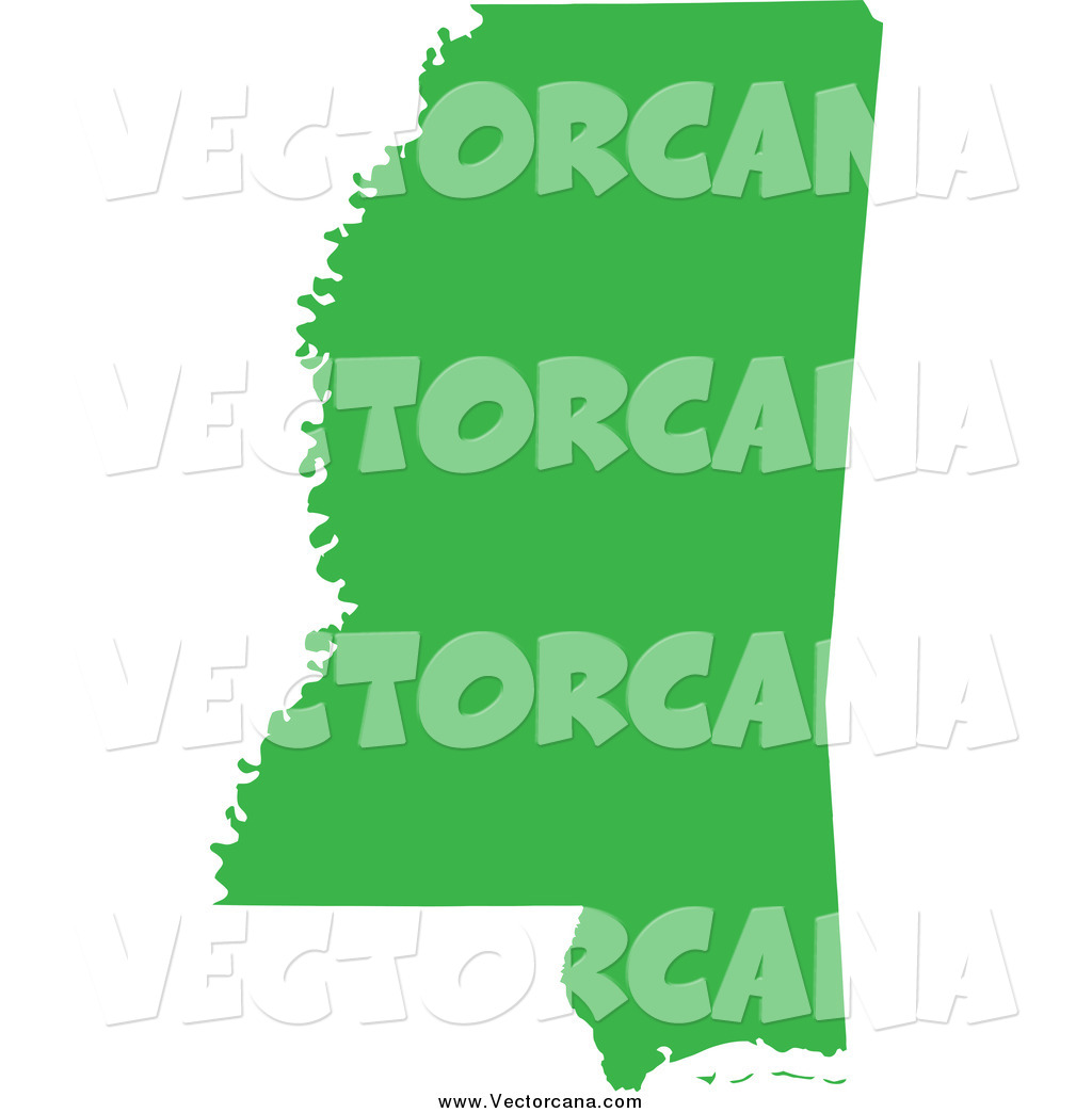 1024x1044 Vector Of A Green Silhouette Of The State Of Mississippi, United
