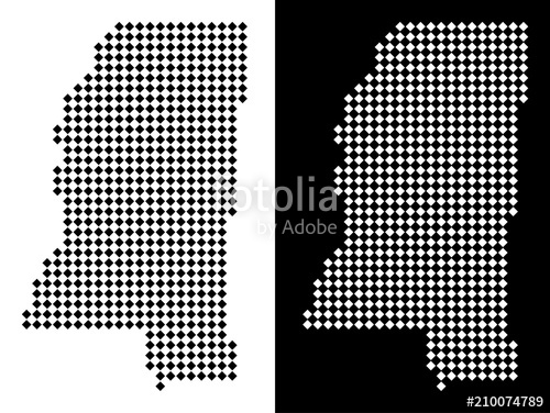 500x376 Vector Rhombus Pixel Mississippi State Map. Abstract Geographical
