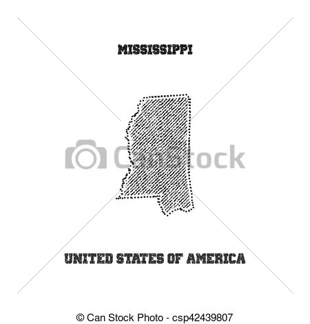 450x470 Label With Map Of Mississippi. Vector Illustration.