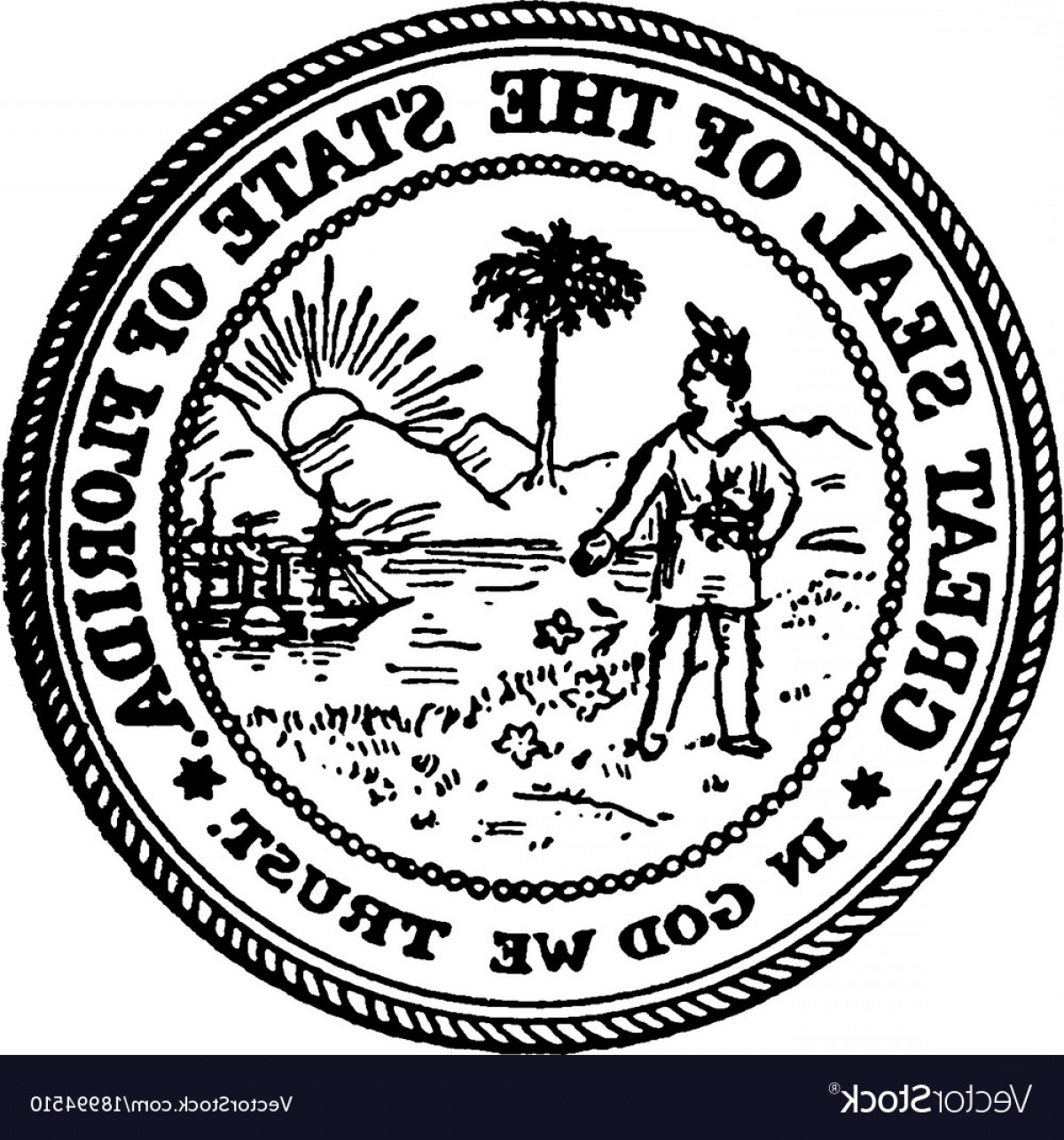 1200x1286 The Great Seal Of The State Of Florida Vintage Vector Geekchicpro