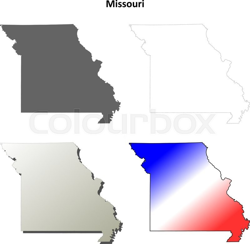 800x781 Missouri State Blank Vector Outline Map Set Stock Vector Colourbox