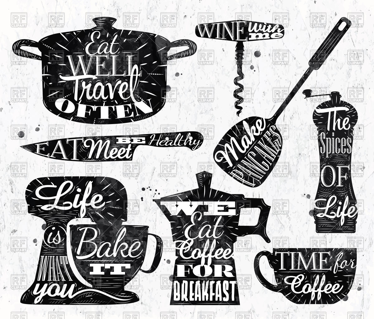 1200x1023 Kitchen Symbol In Vintage Style Lettering Pan Cup, Knife, Mixer