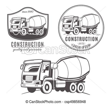 450x417 Set Of Vector Logos With Concrete Mixer Truck.