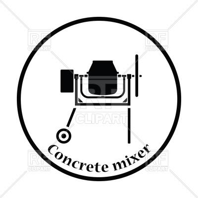 400x400 Thin Circle Design Icon Of Concrete Mixer Vector Image Vector
