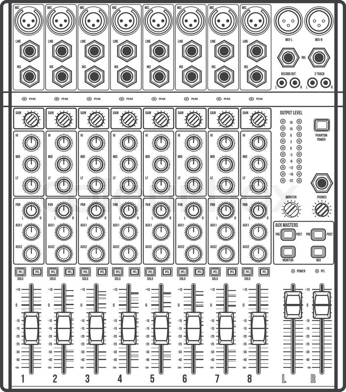 705x800 Vector Outline Monochrome Concert Sound Mixer With Knobs Sliders