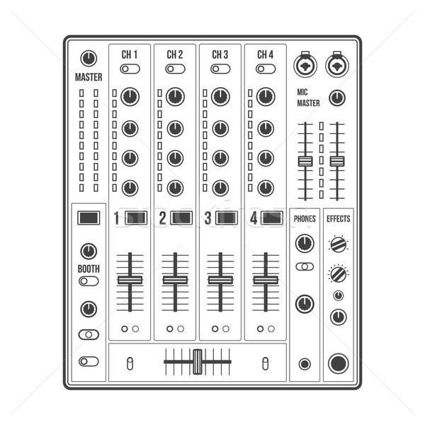 600x600 Outline Sound Dj Mixer Vector Illustration Aleksey Kurenkov