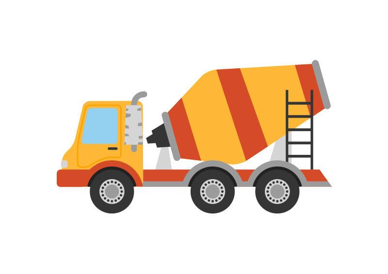 800x566 Concrete Mixer Truck Flat Vector