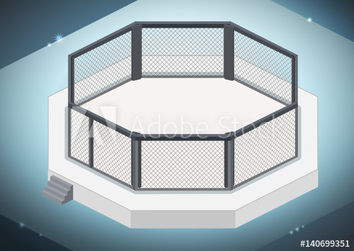 500x354 Mma Cage. Octagon Isometric View. Vector Flat Illustration.