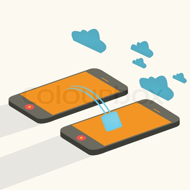 800x800 Mobile Devices Cloud Computing Connected,flat Stock Vector
