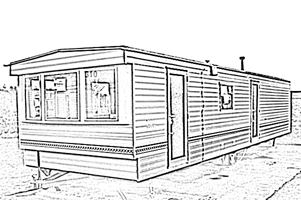 602x400 Mobile Home Sketch Image Sketch, Line Art Of A Mobile Home