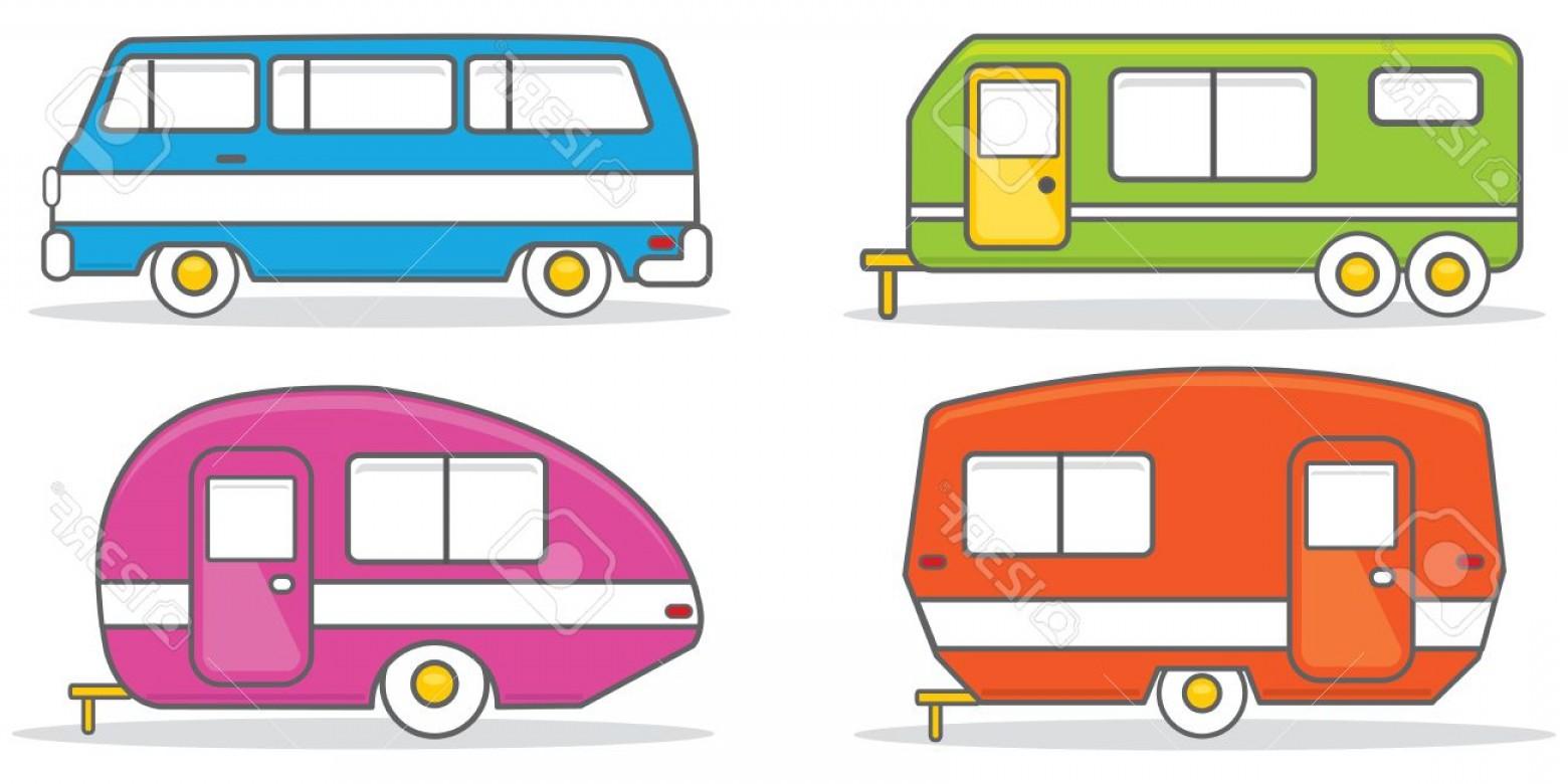 1560x780 Photostock Vector Retro Caravan Mobile Home Vector Illustration