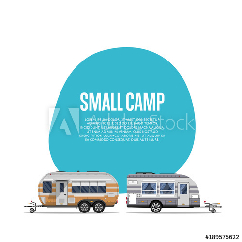 500x500 Small Camp Poster With Travel Trailers. Car Rv Trailer Caravan