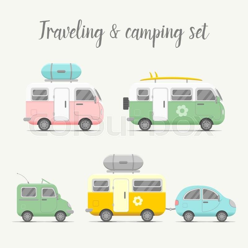 800x800 Vector Transport Caravan And Trailer Set. Mobile Home Types Vector