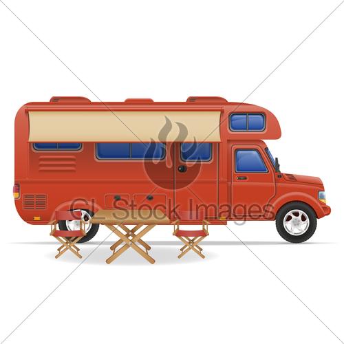 500x500 Car Van Caravan Camper Mobile Home Vector Illustration Gl Stock