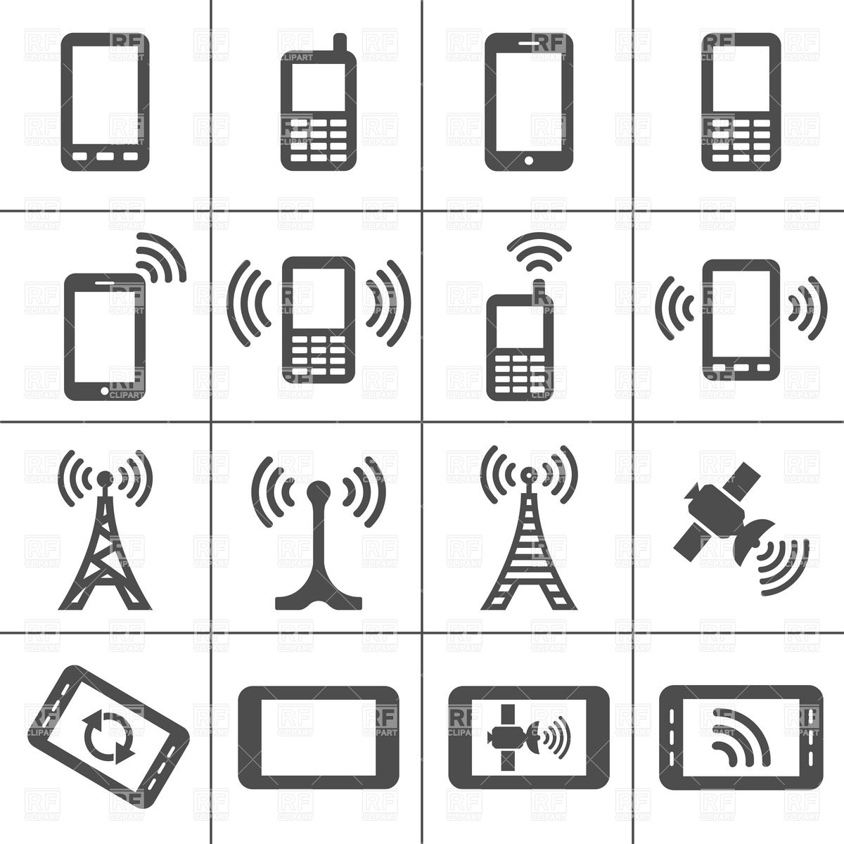 1200x1200 Mobile Devices And Wireless Technology Simplus Icons Series Vector