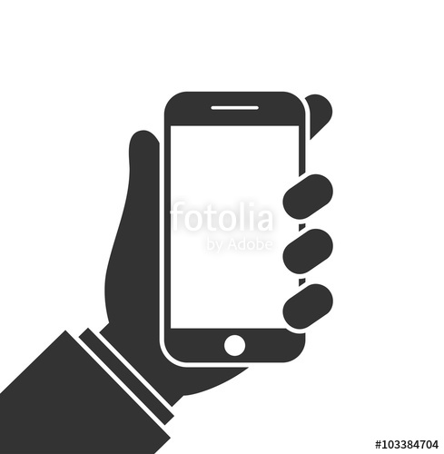 489x500 Mobile Phone In Hand Icon. Hand Holding Smartphone. Flat Design