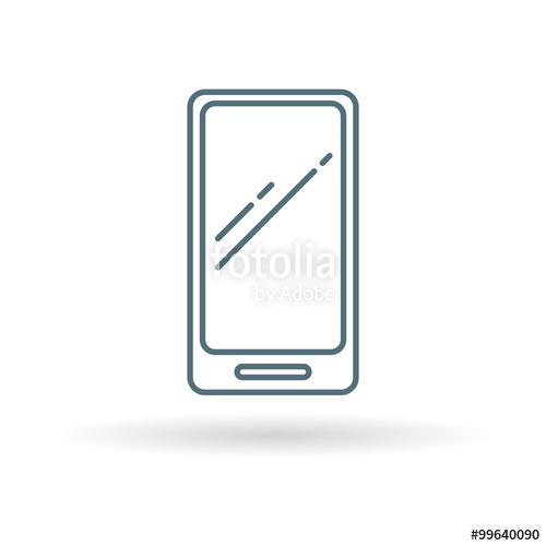 500x500 Modern Smartphone Icon. Cellphone Sign. Mobile Phone Symbol. Thin