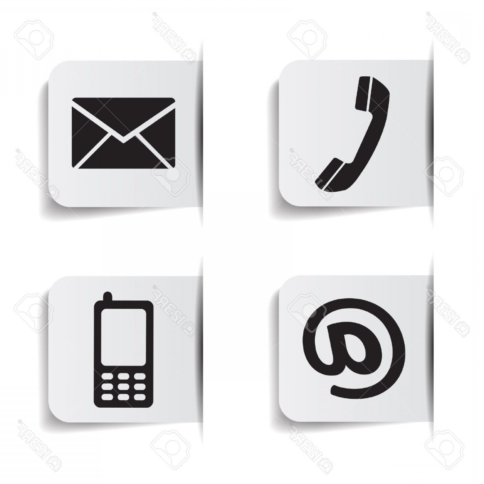 1560x1560 Photostock Vector Web Contact Us Black Icons With Telephone Email