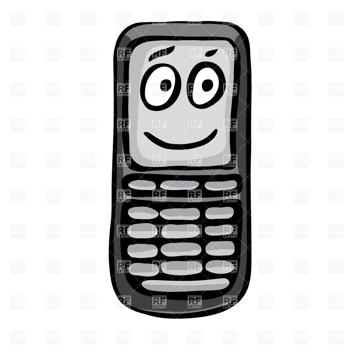 1200x1200 Funny Mobile Phone With Face Vector Image Vector Artwork Of