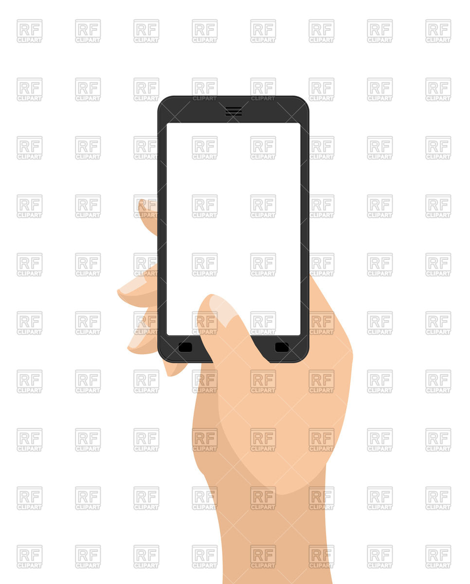 966x1200 Hand And Mobile Phone Vector Image Vector Artwork Of Technology