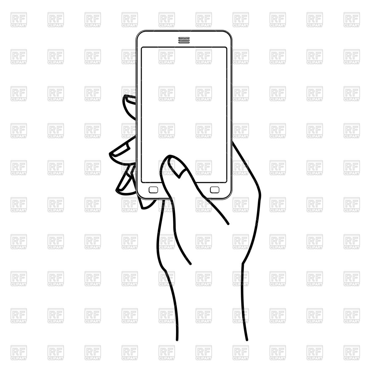 1200x1200 Hand And Mobile Phone. Man Is Holding Smartphone. Vector Image