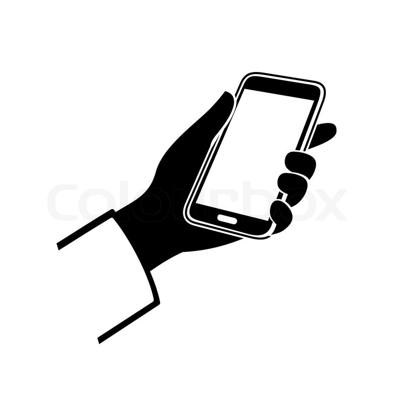 800x800 Mobile Phone In Hand Icon On White Background. Vector Illustration