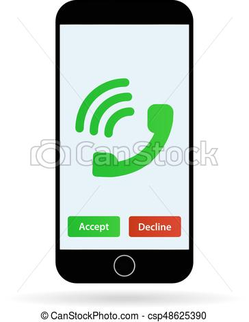 364x470 Mobile Phone Call Vector Illustration Cellphone Calling.