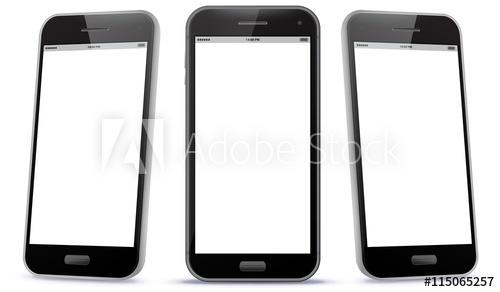 500x292 Black Smart Phone Vector Illustration Isolated On White.