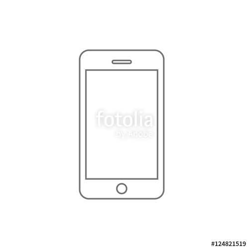 500x500 Smartphone Line Outline Style Vector Illustration, Simple Mobile