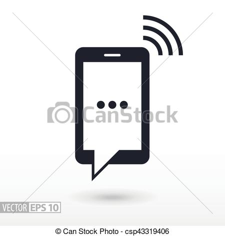 450x470 Sms Flat Icon. Sign Mobile Phone. Vector Logo For Web Design