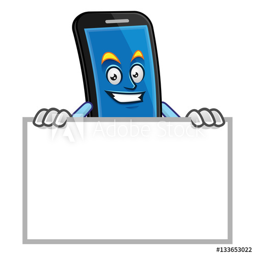 500x500 Blank Sign Smartphone Character, Vector Of Cellphone Mascot