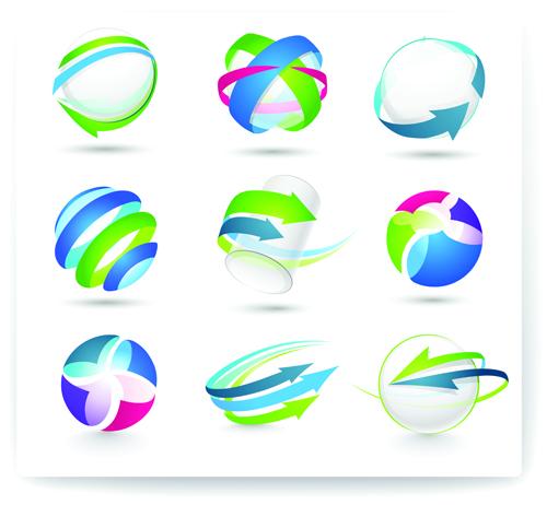 500x462 Modern 3d Logos Design Elements Vector 02 Free Download