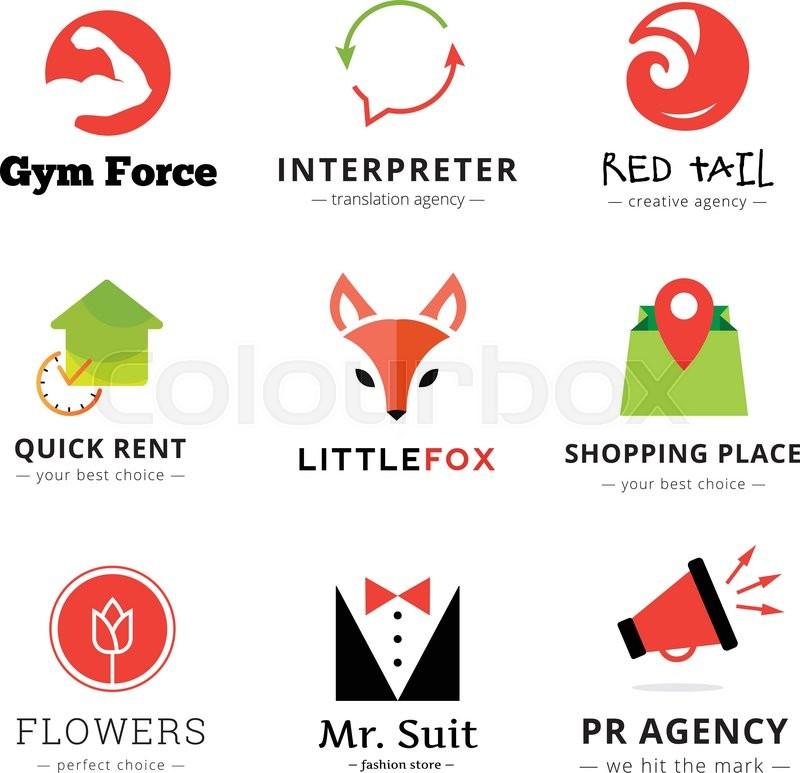 800x773 Set Of Vector Bright Modern Logos. Fox Logo, Flowers Shop Logo